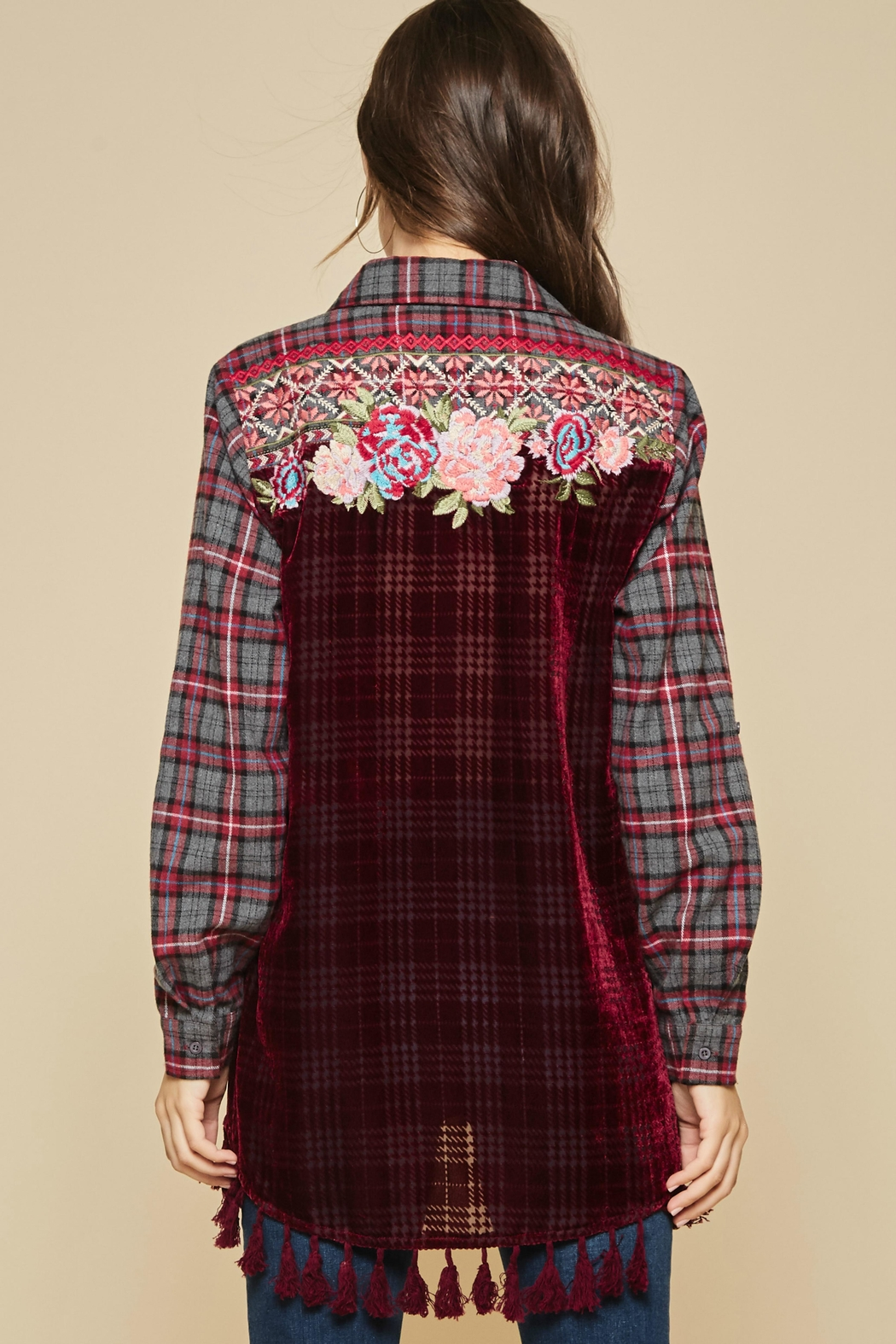 Andree by Unit Embroidered Burnout Flannel - Main Image