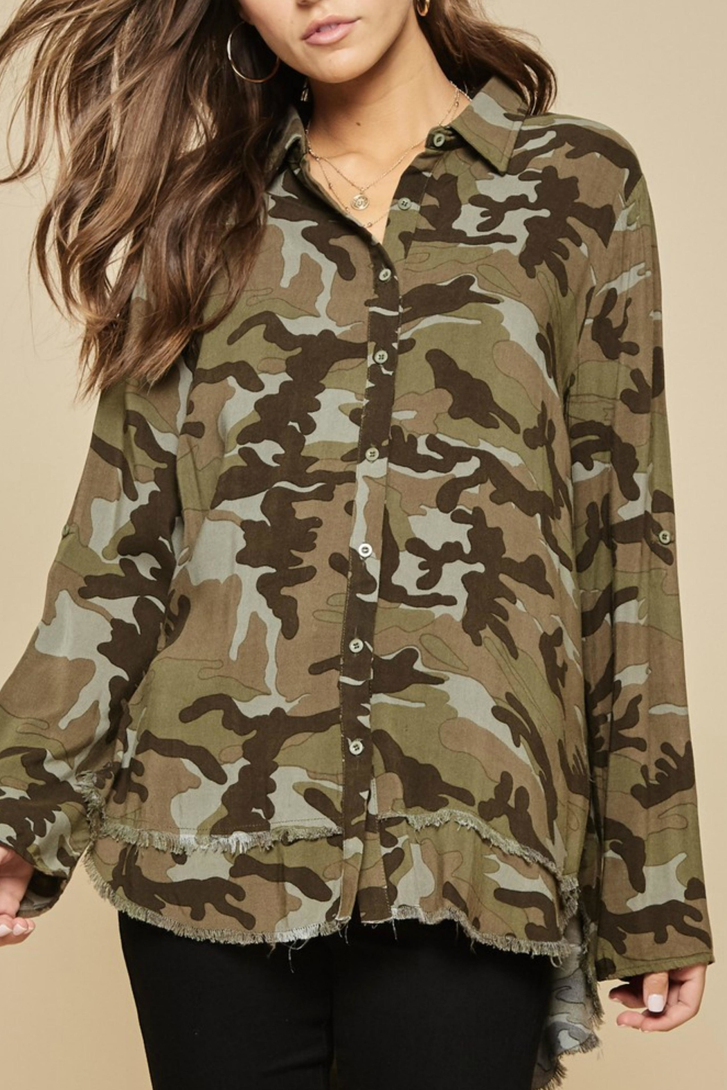 Andree by Unit Embroidered Camo Blouse - Front Full Image