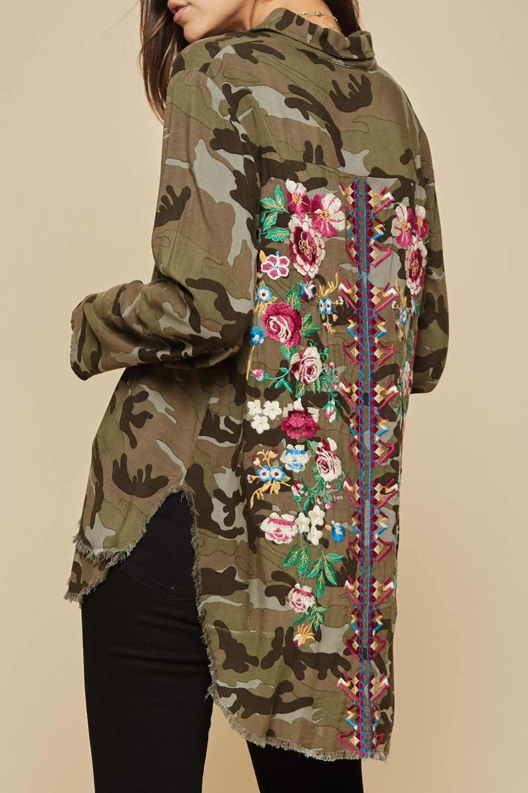 Andree by Unit Embroidered Camo Blouse - Main Image
