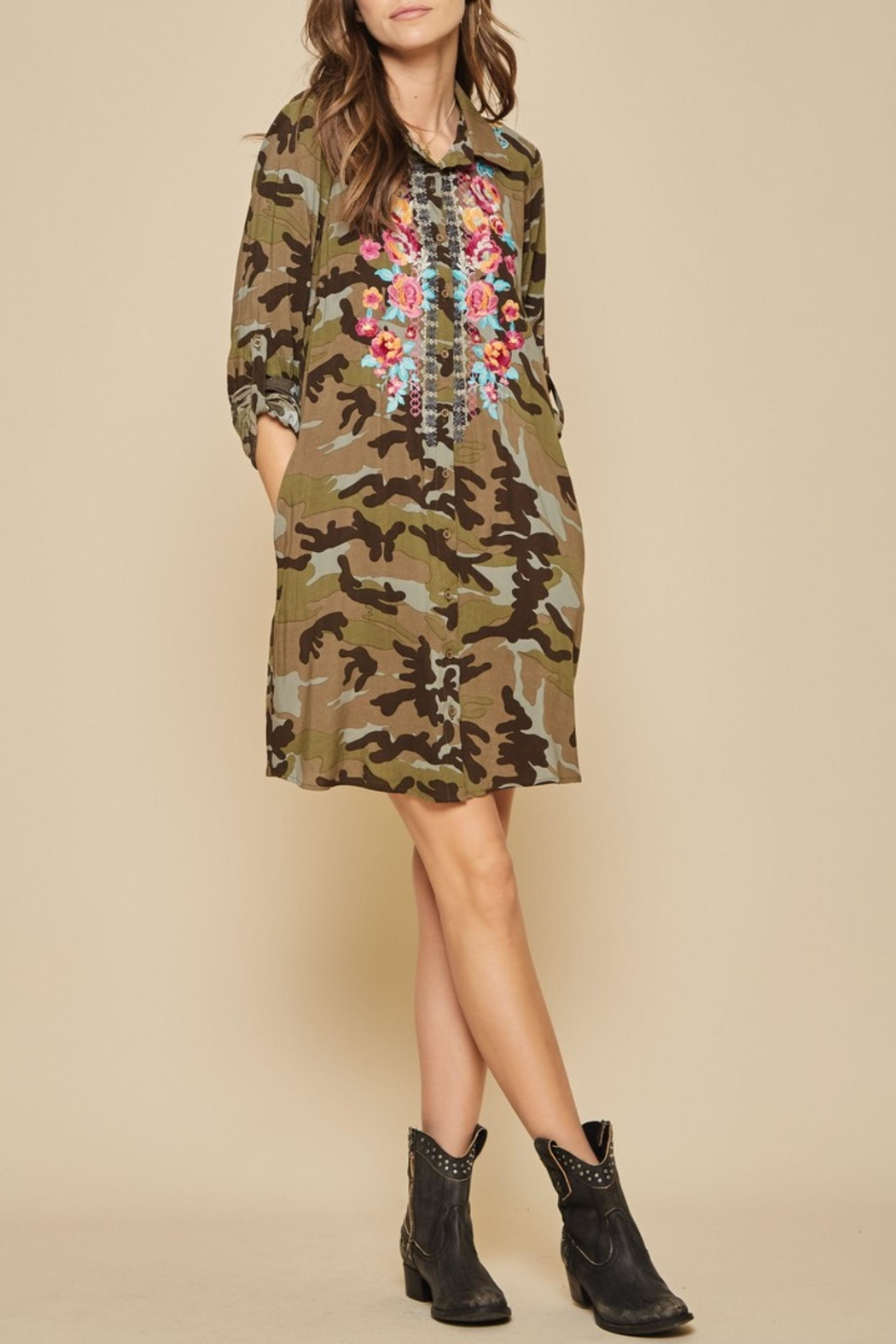 Andree by Unit Embroidered Camo Dress - Main Image