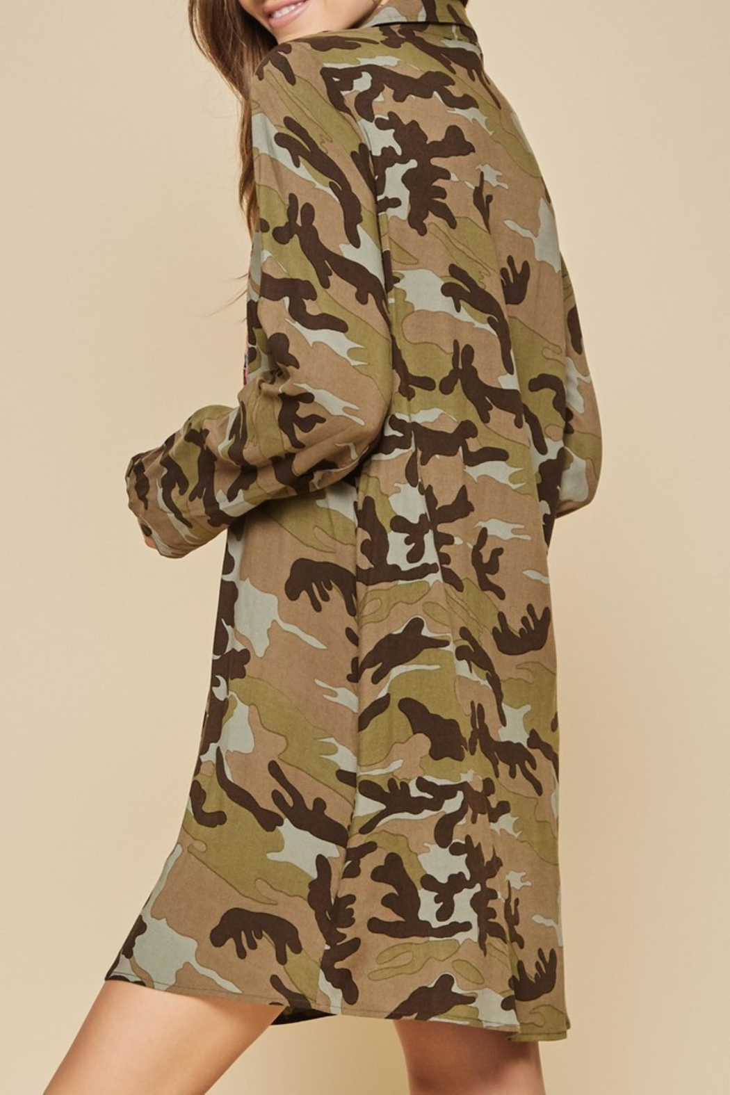 Andree by Unit Embroidered Camo Dress - Front Full Image