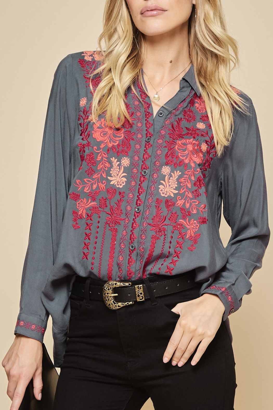 Andree by Unit Embroidered Collar Tunic Blouse - Main Image