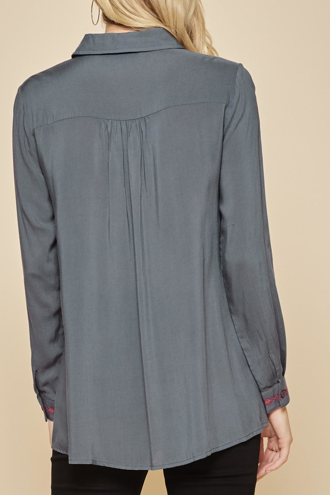 Andree by Unit Embroidered Collar Tunic Blouse - Front Full Image