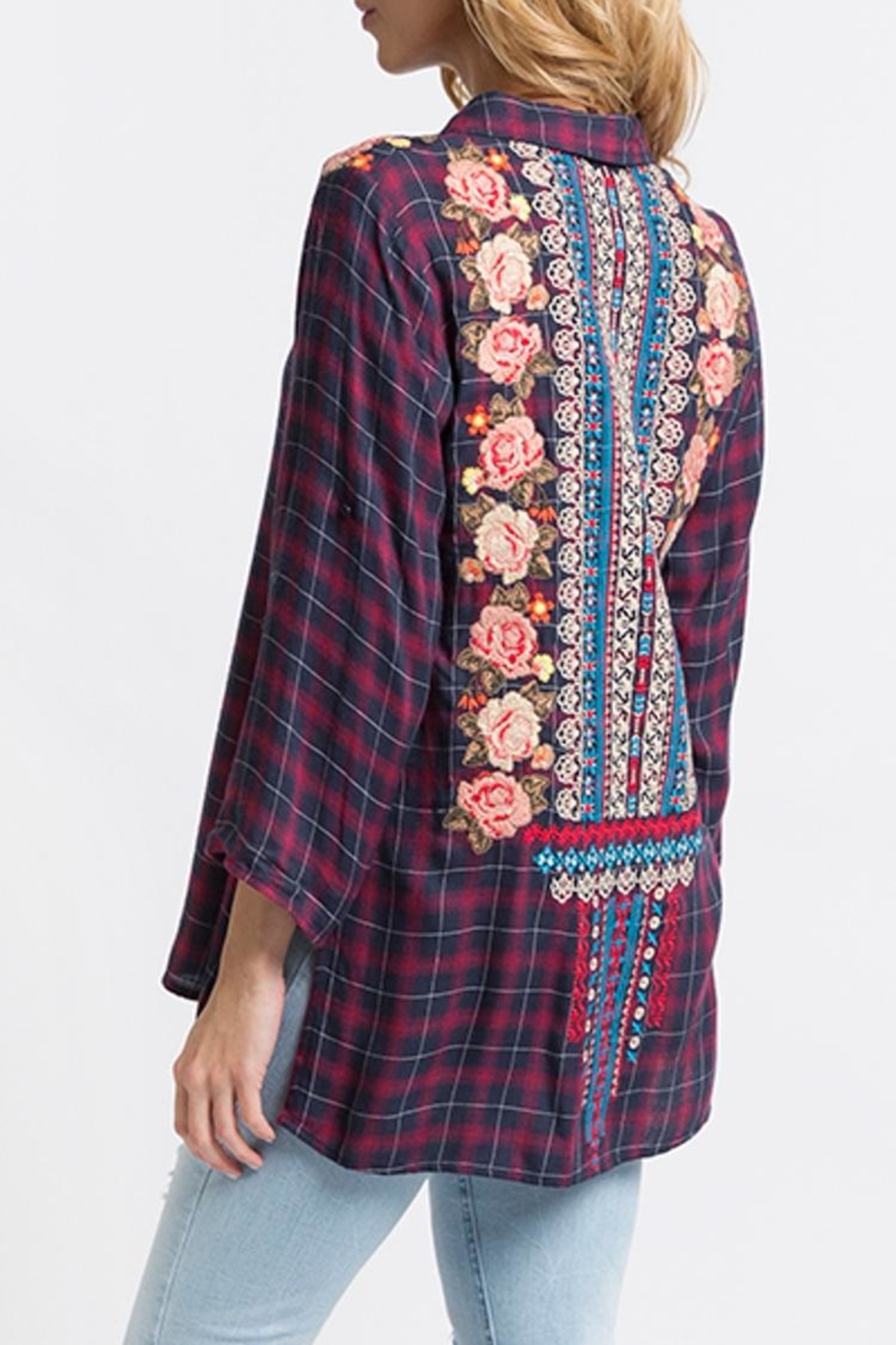 Andree by Unit Embroidered Flannel Tunic - Front Full Image