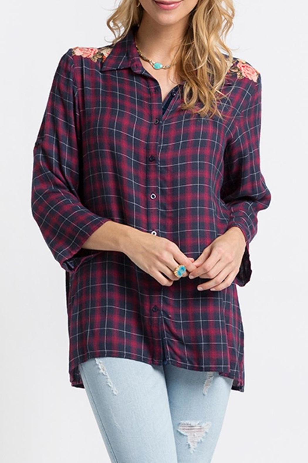 Andree by Unit Embroidered Flannel Tunic - Main Image