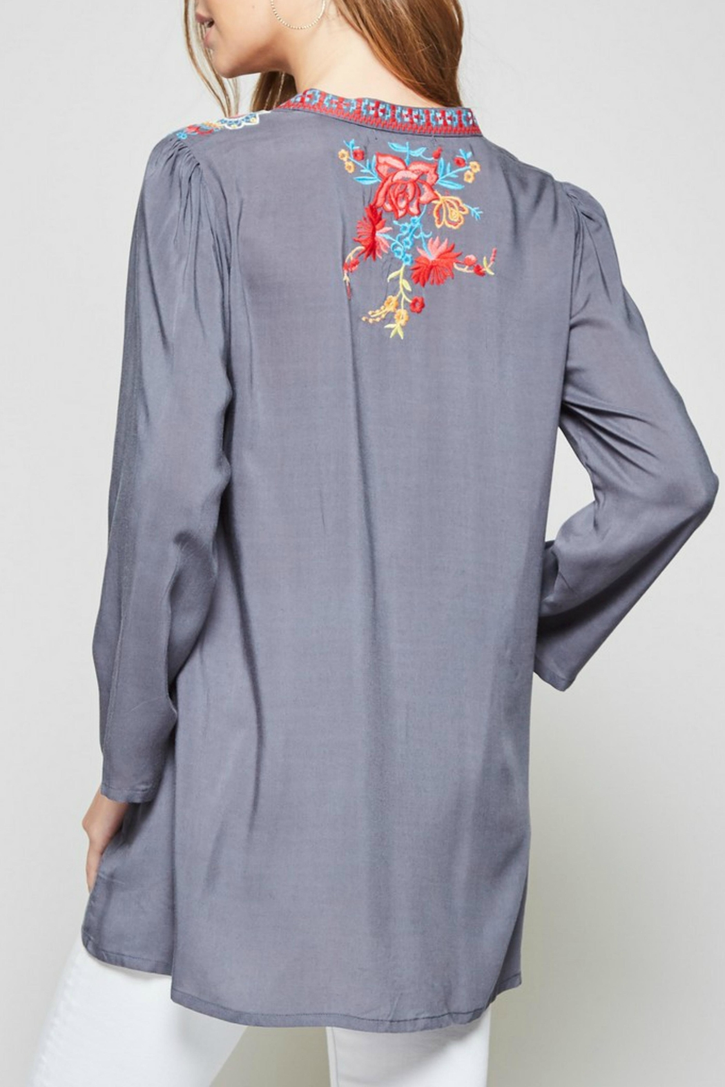 Andree by Unit Embroidered Mandarin Blouse - Front Full Image