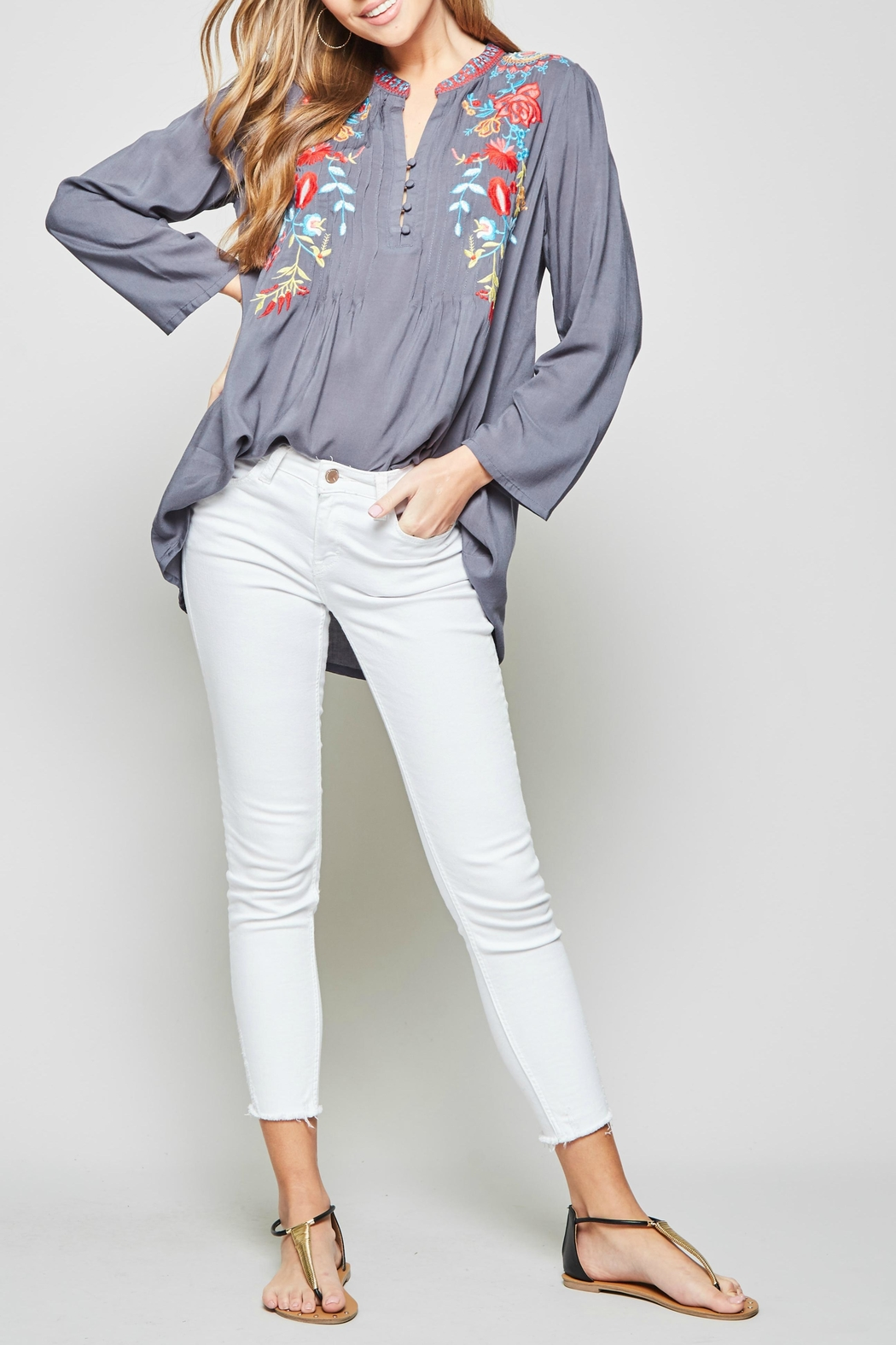 Andree by Unit Embroidered Mandarin Blouse - Main Image