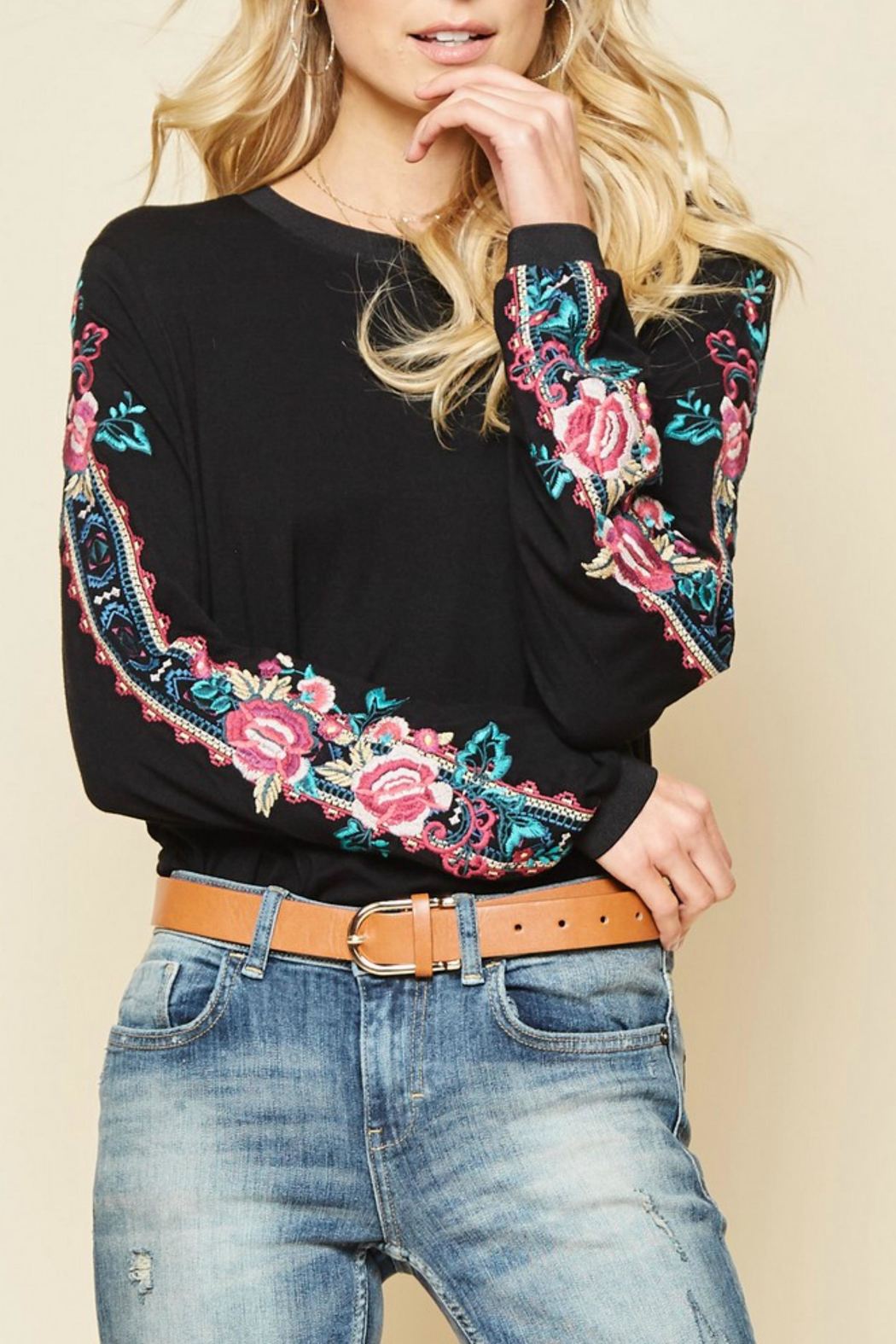 Andree by Unit Embroidered Sleeved Top - Main Image