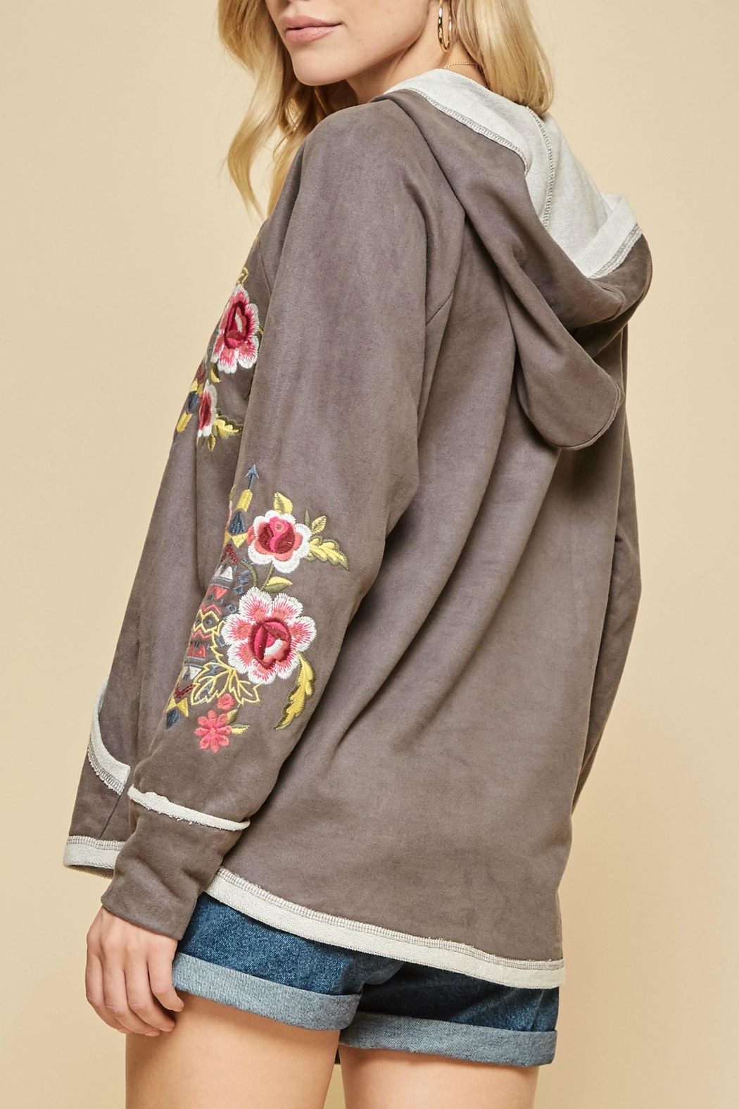Andree by Unit Embroidered Suede Hoodie - Front Full Image