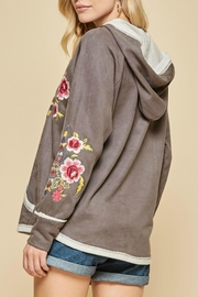 Andree by Unit Embroidered Suede Hoodie - Front full body