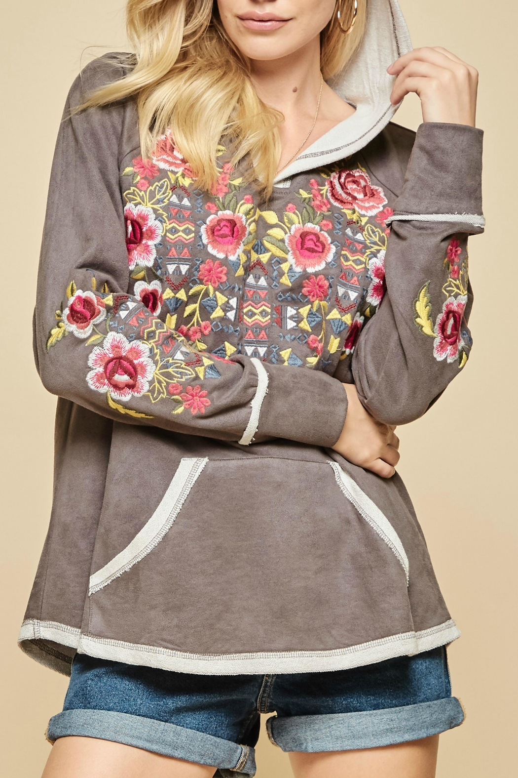 Andree by Unit Embroidered Suede Hoodie - Main Image