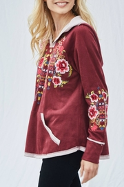 Andree by Unit Embroidered Suede Hoodie - Product Mini Image