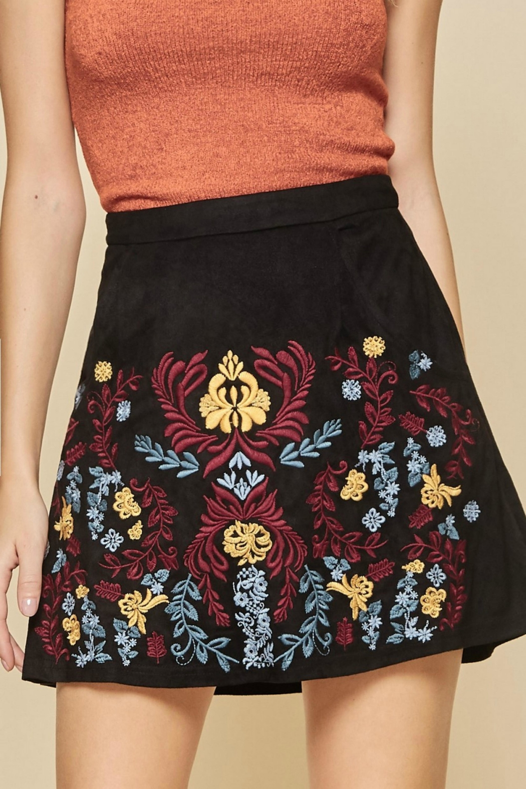 Andree by Unit Embroidered Suede Skirt - Front Full Image
