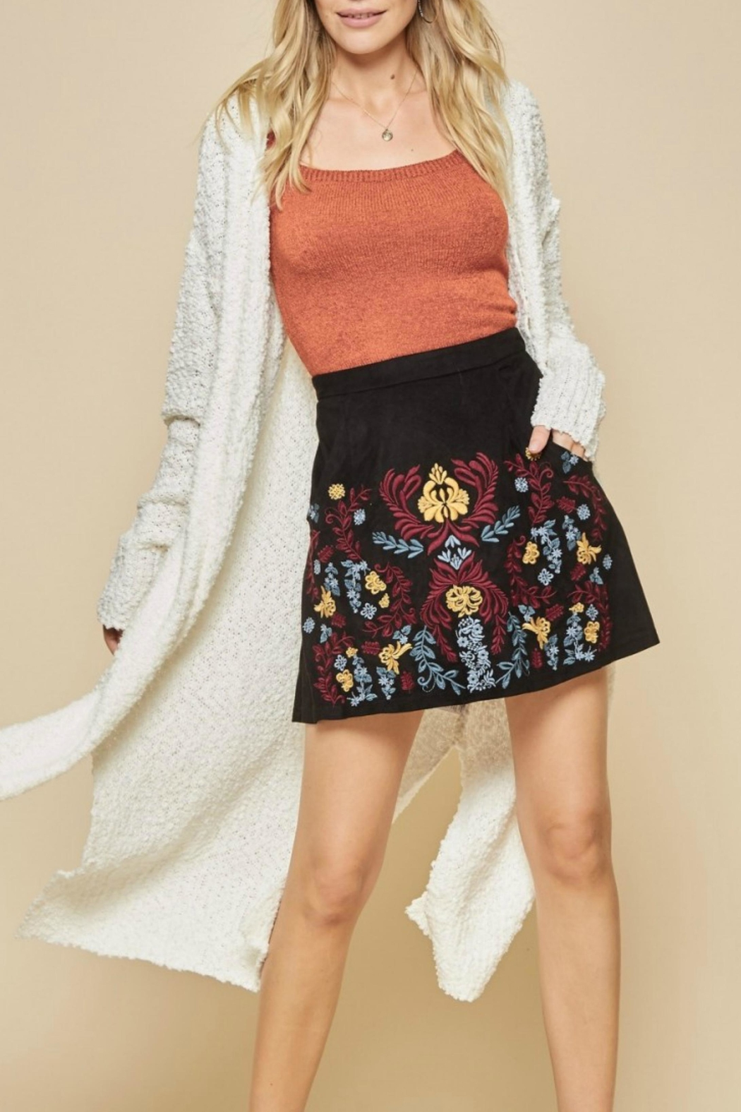 Andree by Unit Embroidered Suede Skirt - Main Image
