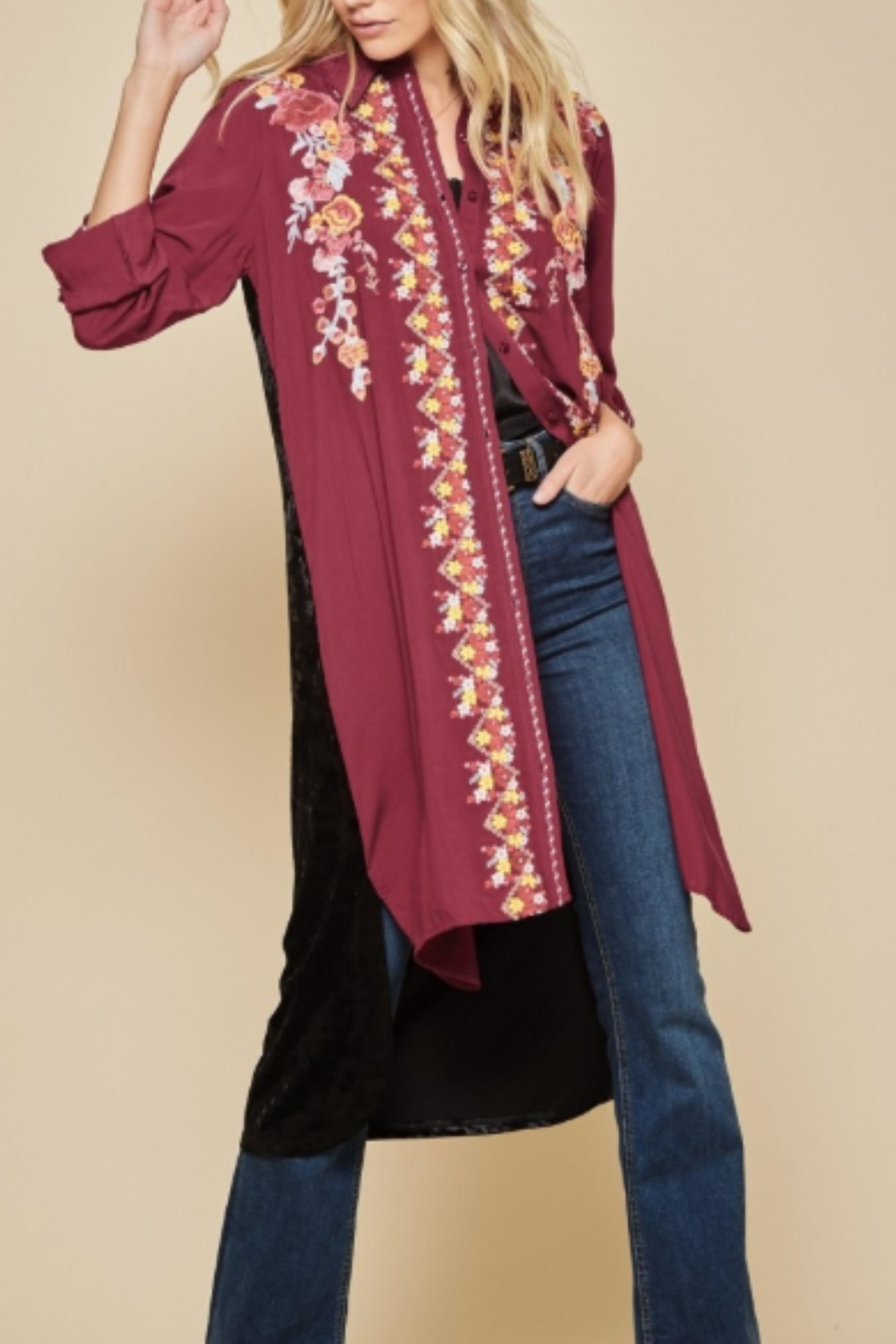 Andree by Unit Embroidered Velvet Duster - Front Full Image