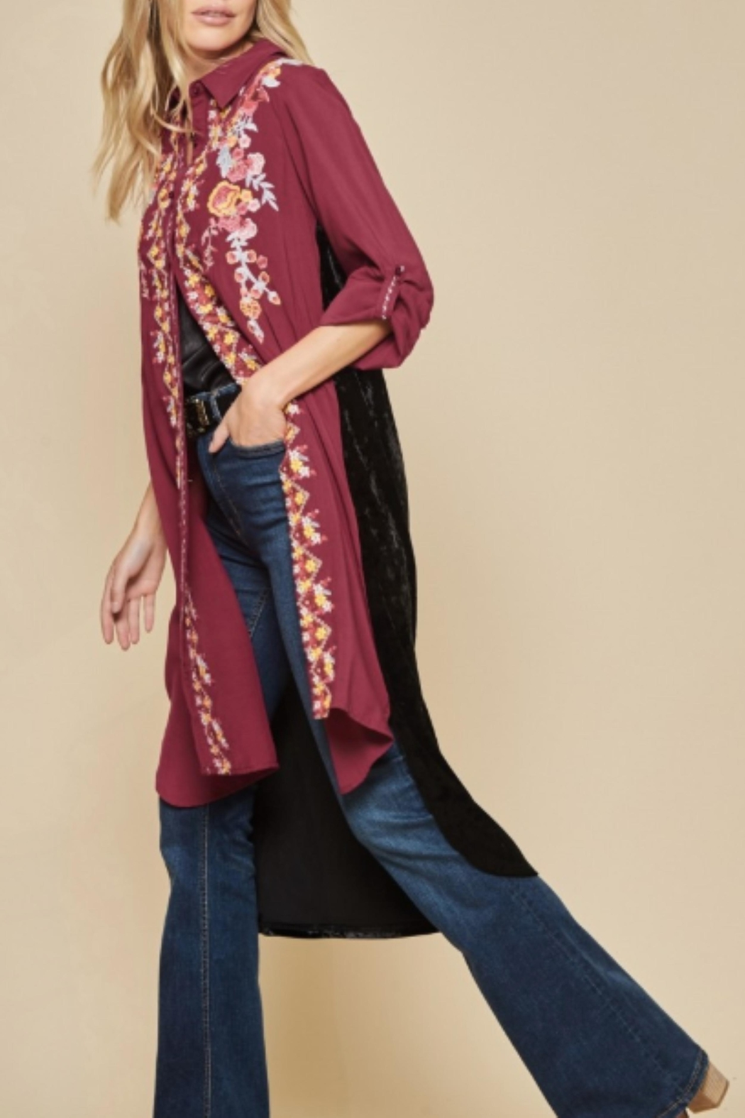 Andree by Unit Embroidered Velvet Duster - Main Image