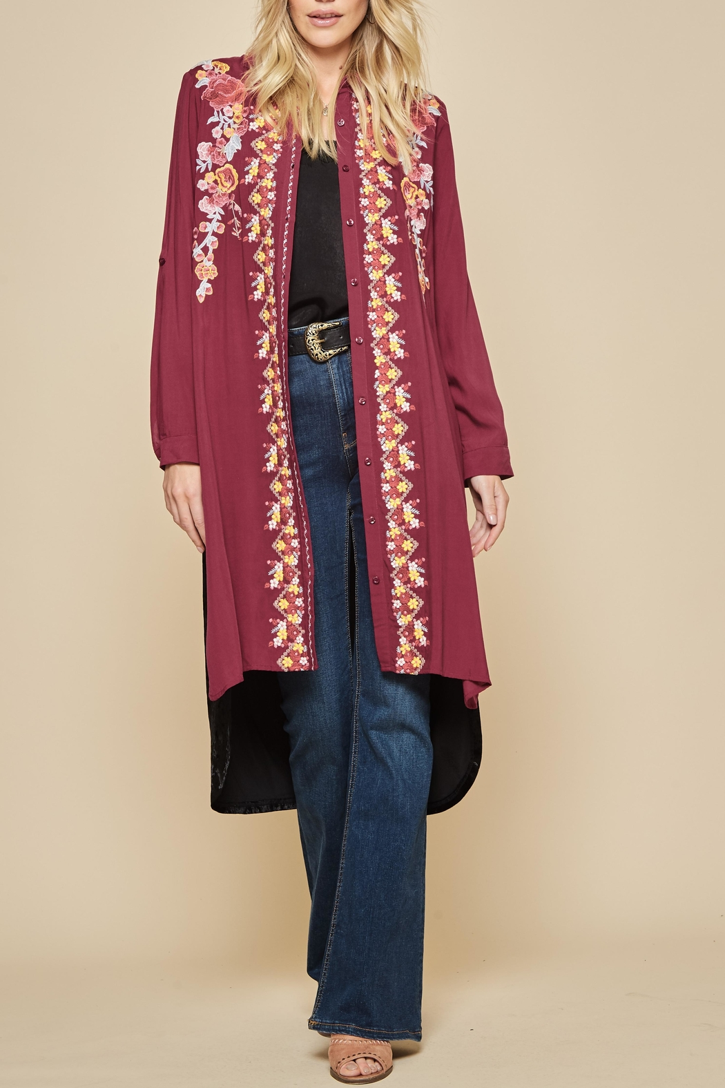 Vintage Coats & Jackets | Retro Coats and Jackets Embroidered Velvet Duster $46.00 AT vintagedancer.com