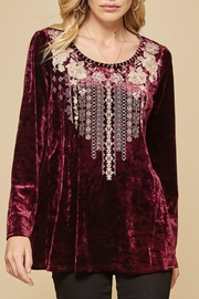 Andree by Unit Embroidered Velvet Top - Product Mini Image