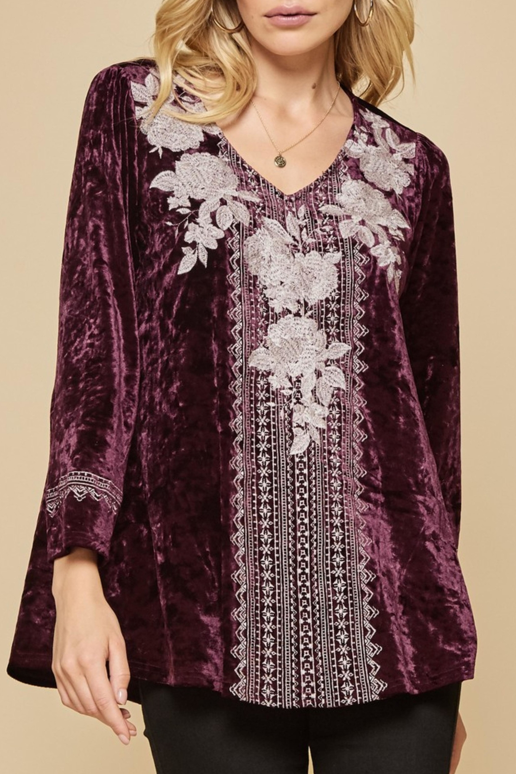 Andree by Unit Embroidered Velvet Tunic - Main Image