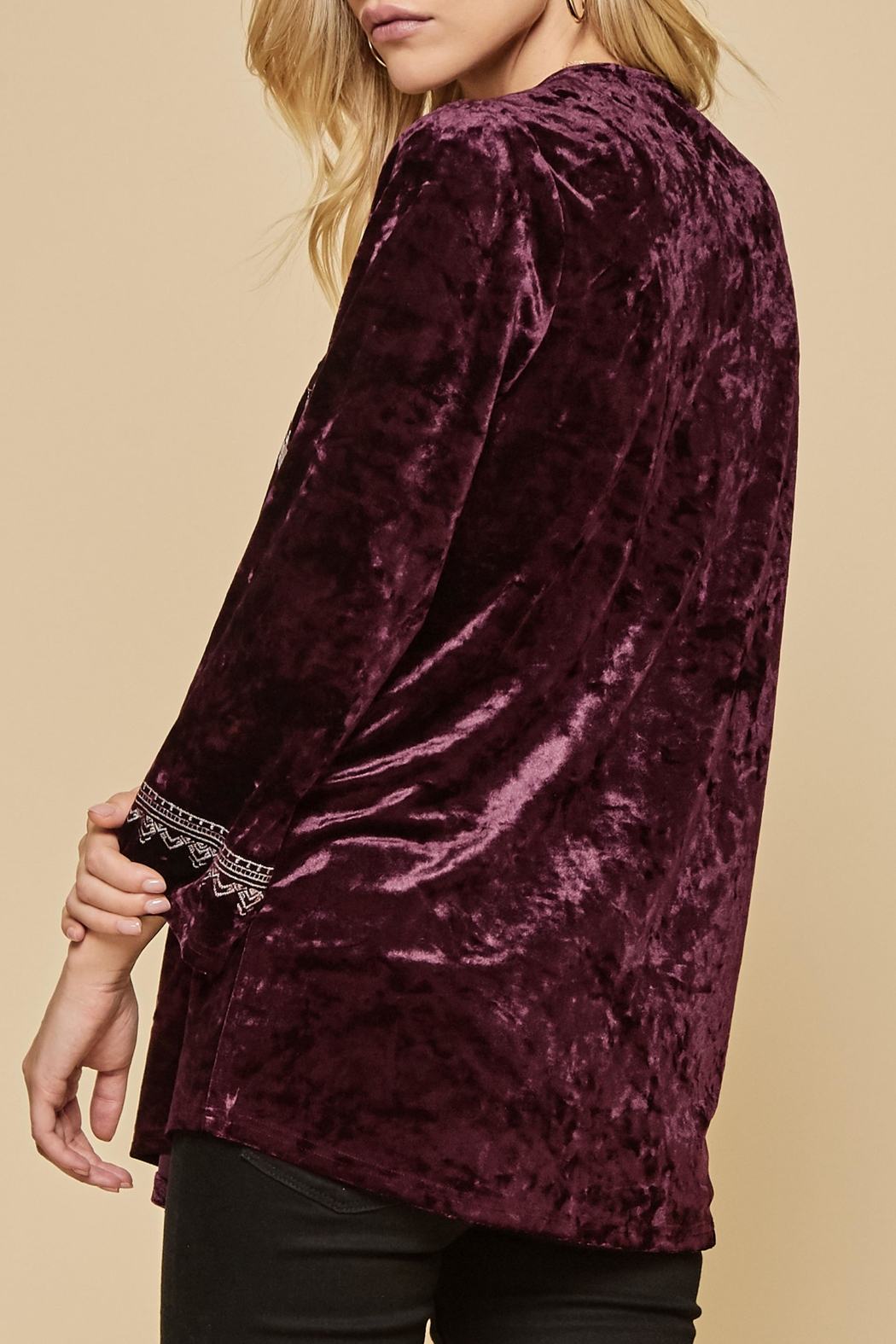 Andree by Unit Embroidered Velvet Tunic - Front Full Image