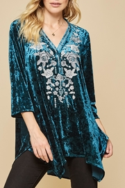 Andree by Unit Embroidered Velvet Tunic - Product Mini Image