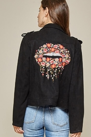 Andree by Unit Faux Suede Motto Jacket - Front cropped