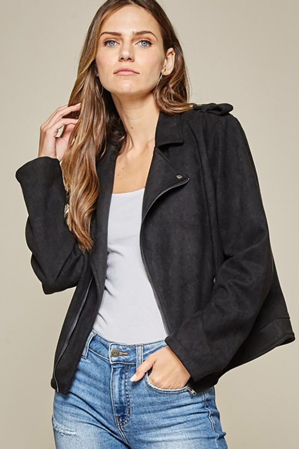 Andree by Unit Faux Suede Motto Jacket - Back Cropped Image