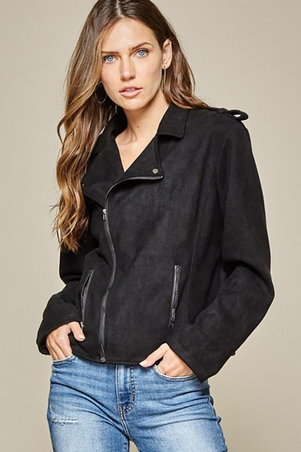 Andree by Unit Faux Suede Motto Jacket - Front Full Image