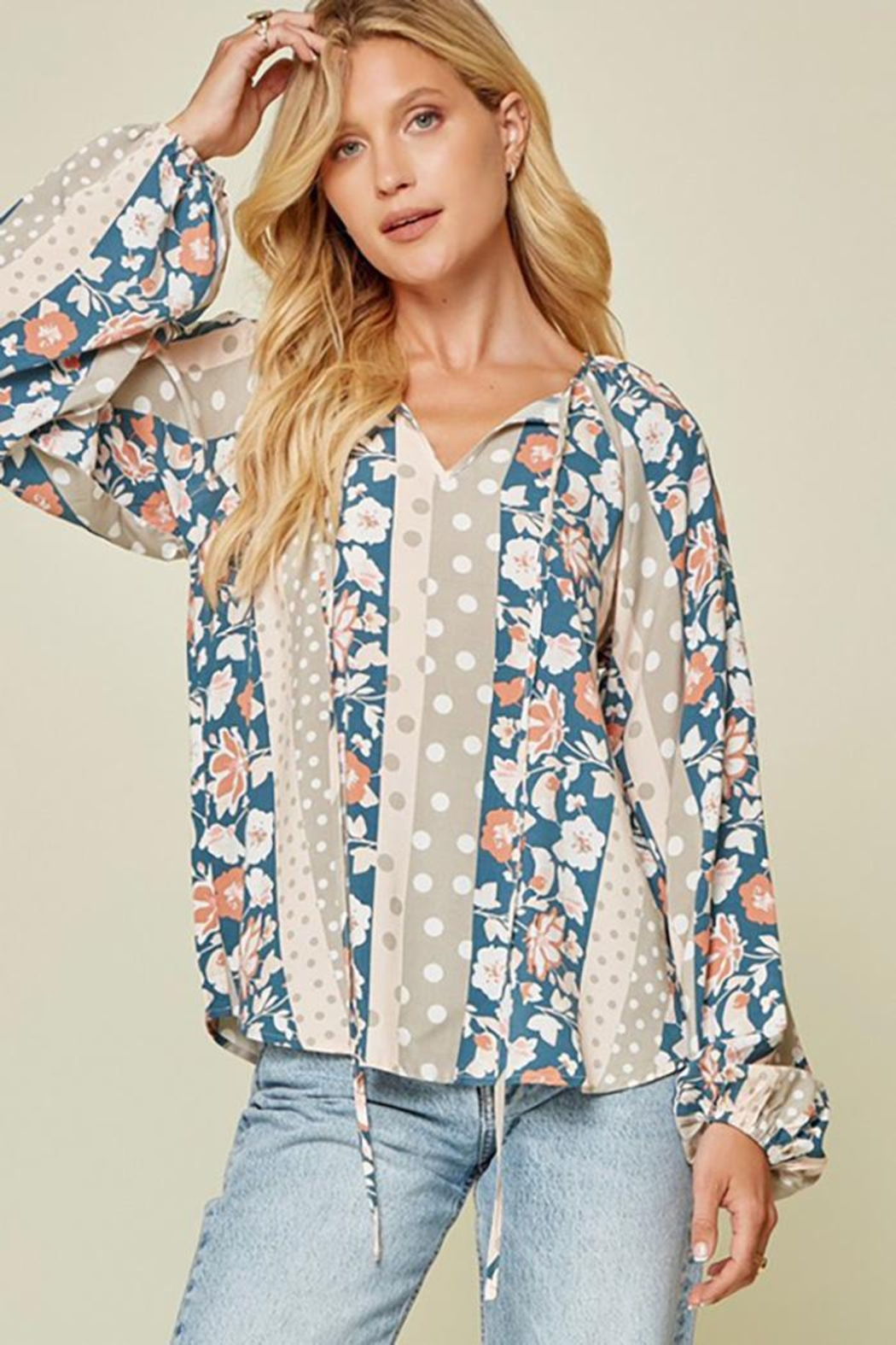 Andree by Unit Floral And Polka Dot Mix Top - Main Image