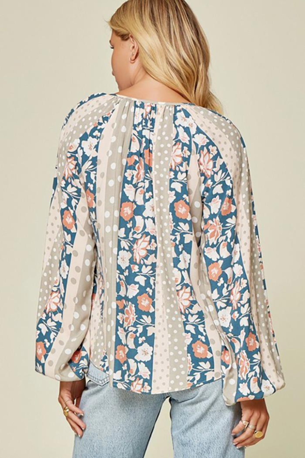 Andree by Unit Floral And Polka Dot Mix Top - Front Full Image