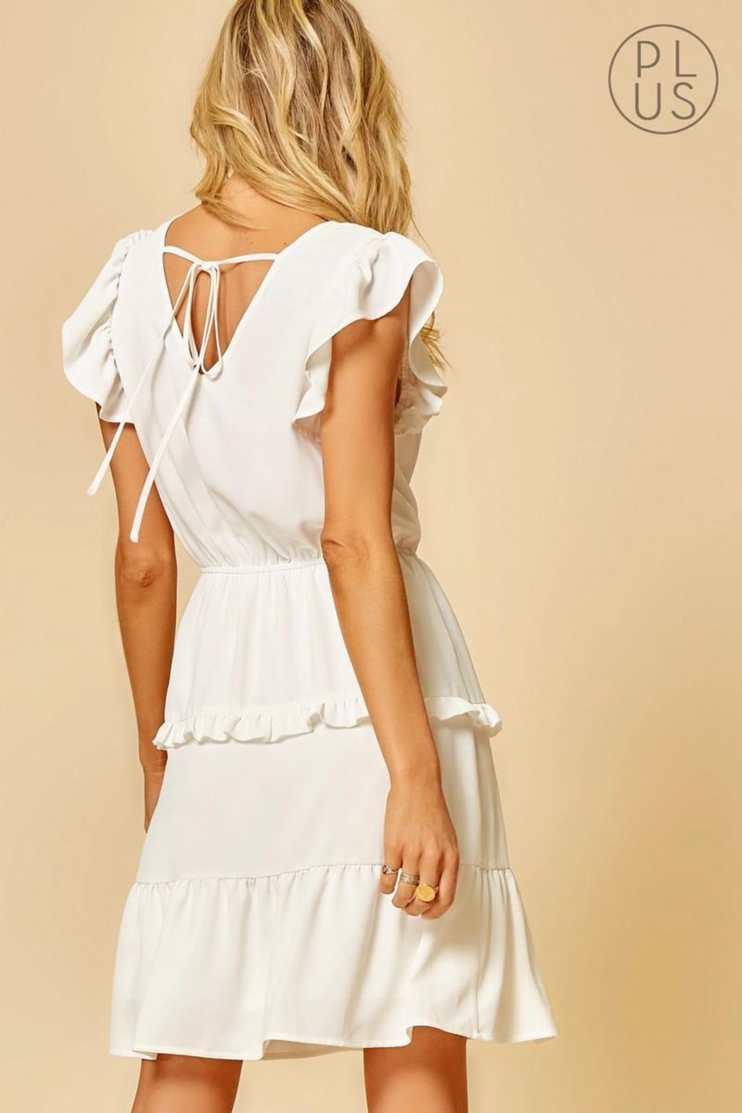 Andree by Unit Ivory Ruffle-Tiered Dress - Front Full Image