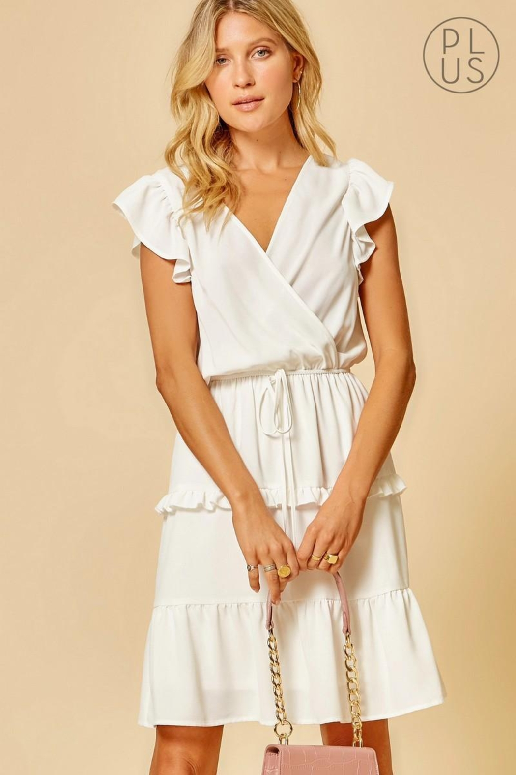 Andree by Unit Ivory Ruffle-Tiered Dress - Main Image