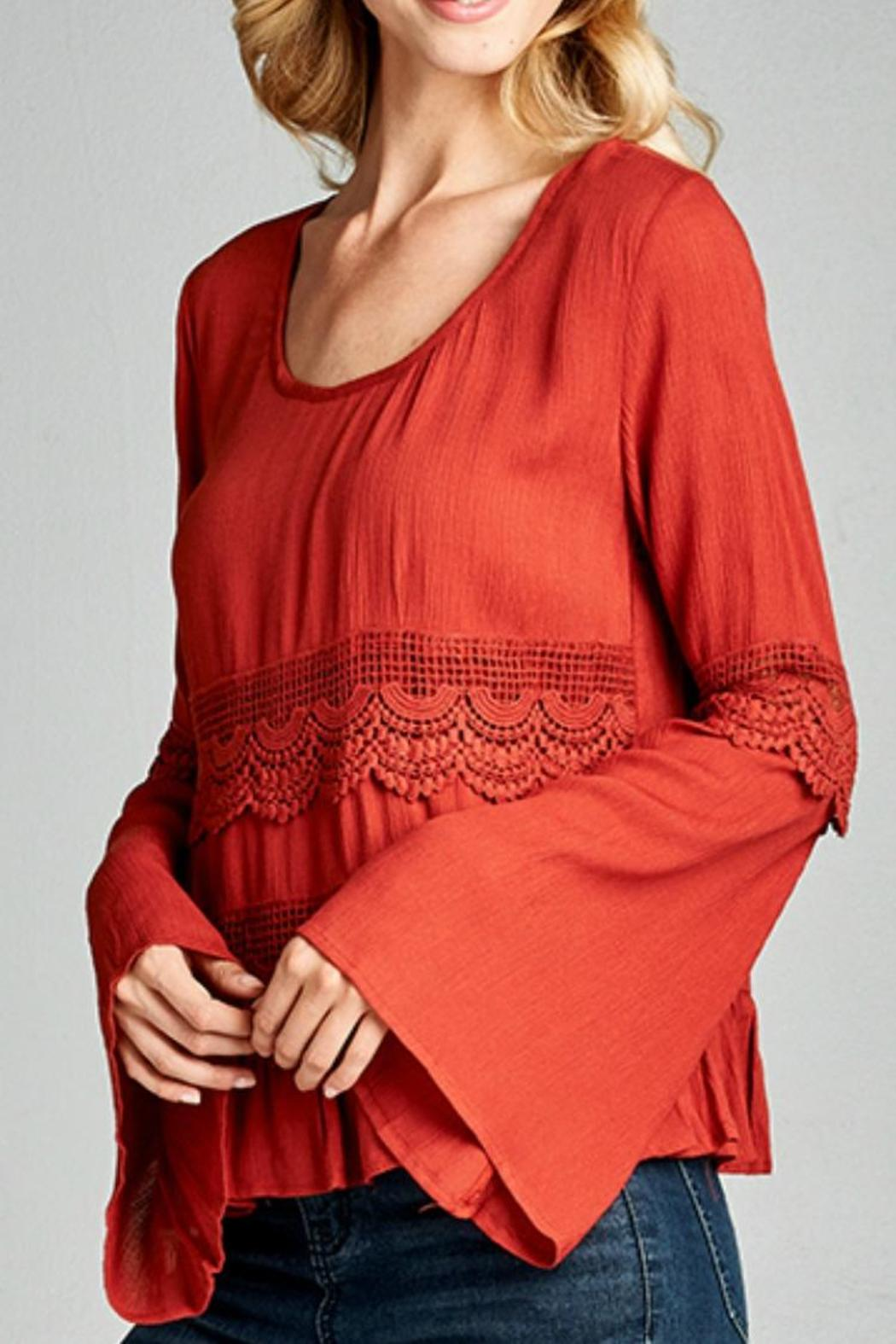 Andree by Unit Lace Trim Top - Front Full Image