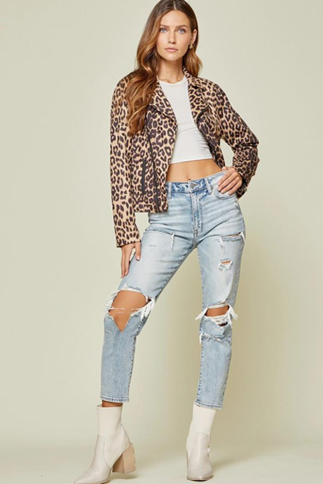 Andree by Unit Leopard Printed Jacket - Back Cropped Image