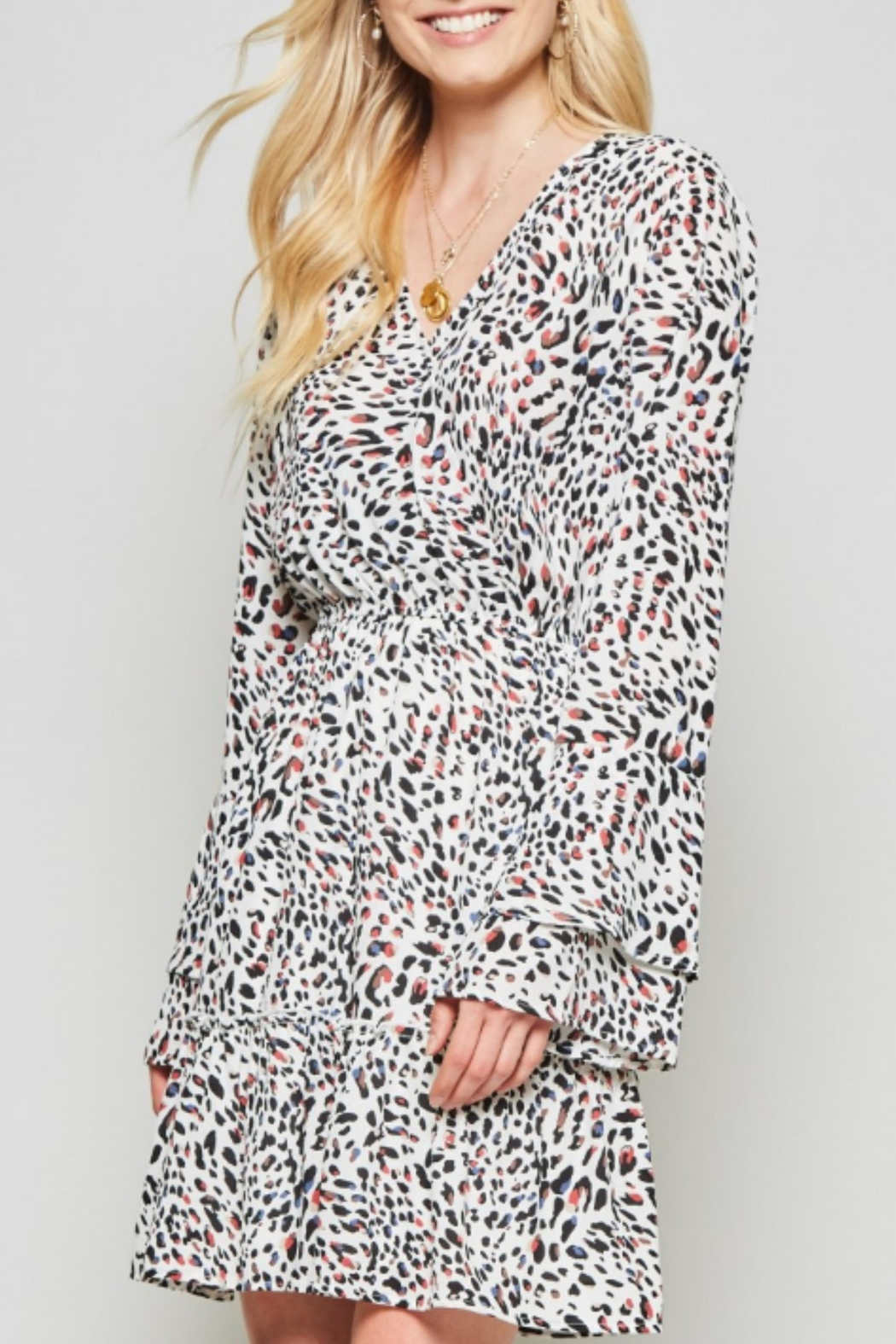 Andree by Unit Leopard Silky Dress - Back Cropped Image