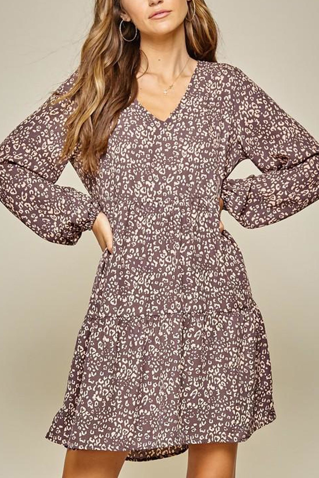 Andree by Unit Leopard Tiered Shift-Dress - Front Full Image