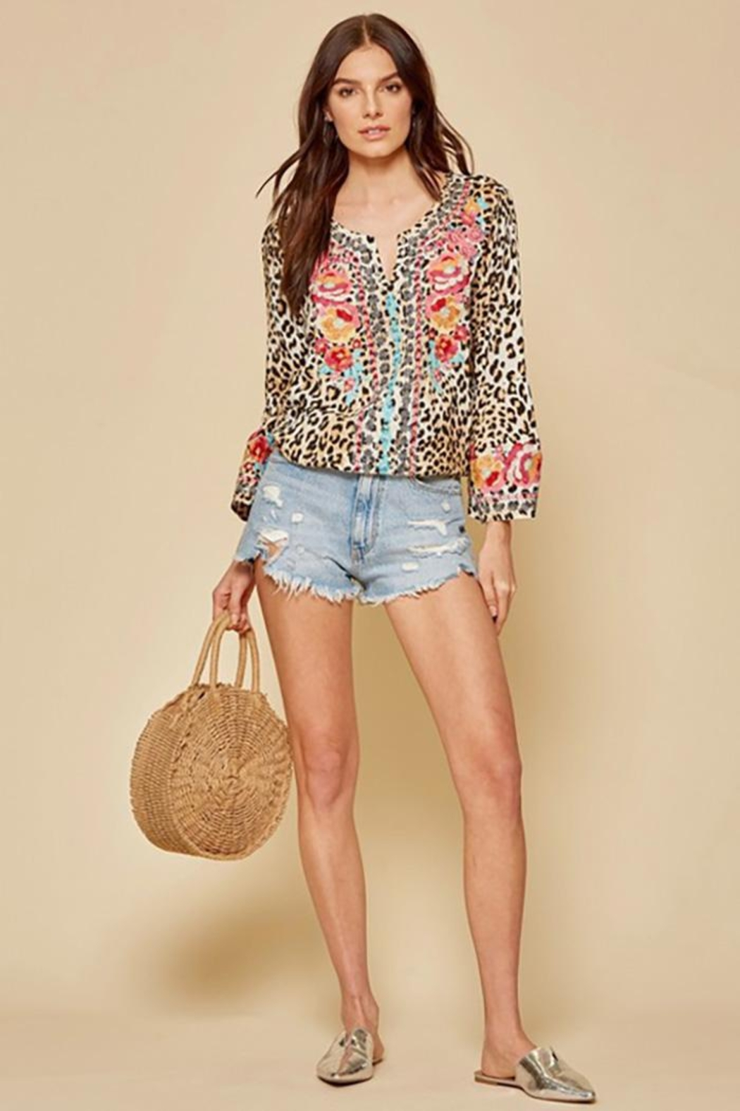 Andree by Unit Leopard Tunic Top With Bell Sleeves - Front Full Image
