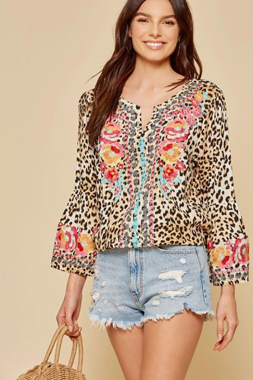 Andree by Unit Leopard Tunic Top With Bell Sleeves - Main Image