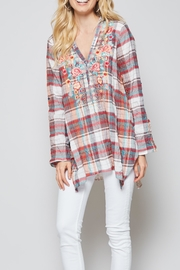 Andree by Unit Plaid Embroidered Tunic/blouse - Product Mini Image
