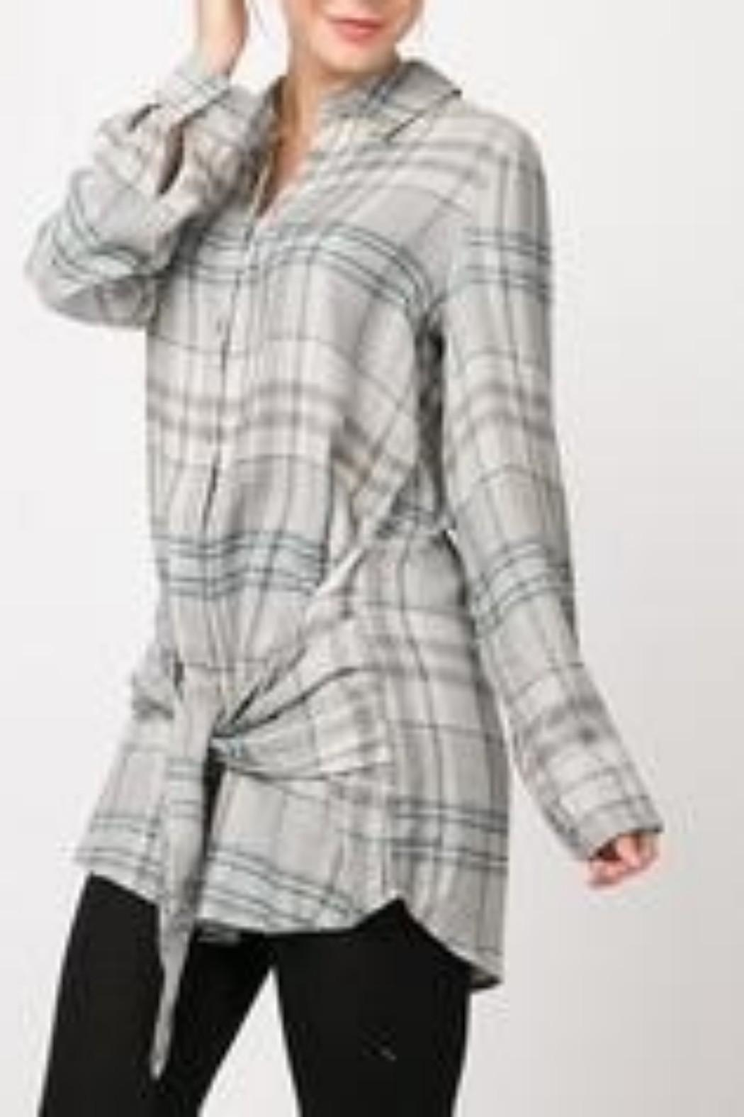 Andree by Unit Plaid Shirt Dress - Front Full Image