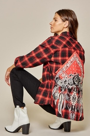 Andree by Unit Plaid Shirt Patchwork Embroidery Detail - Product Mini Image