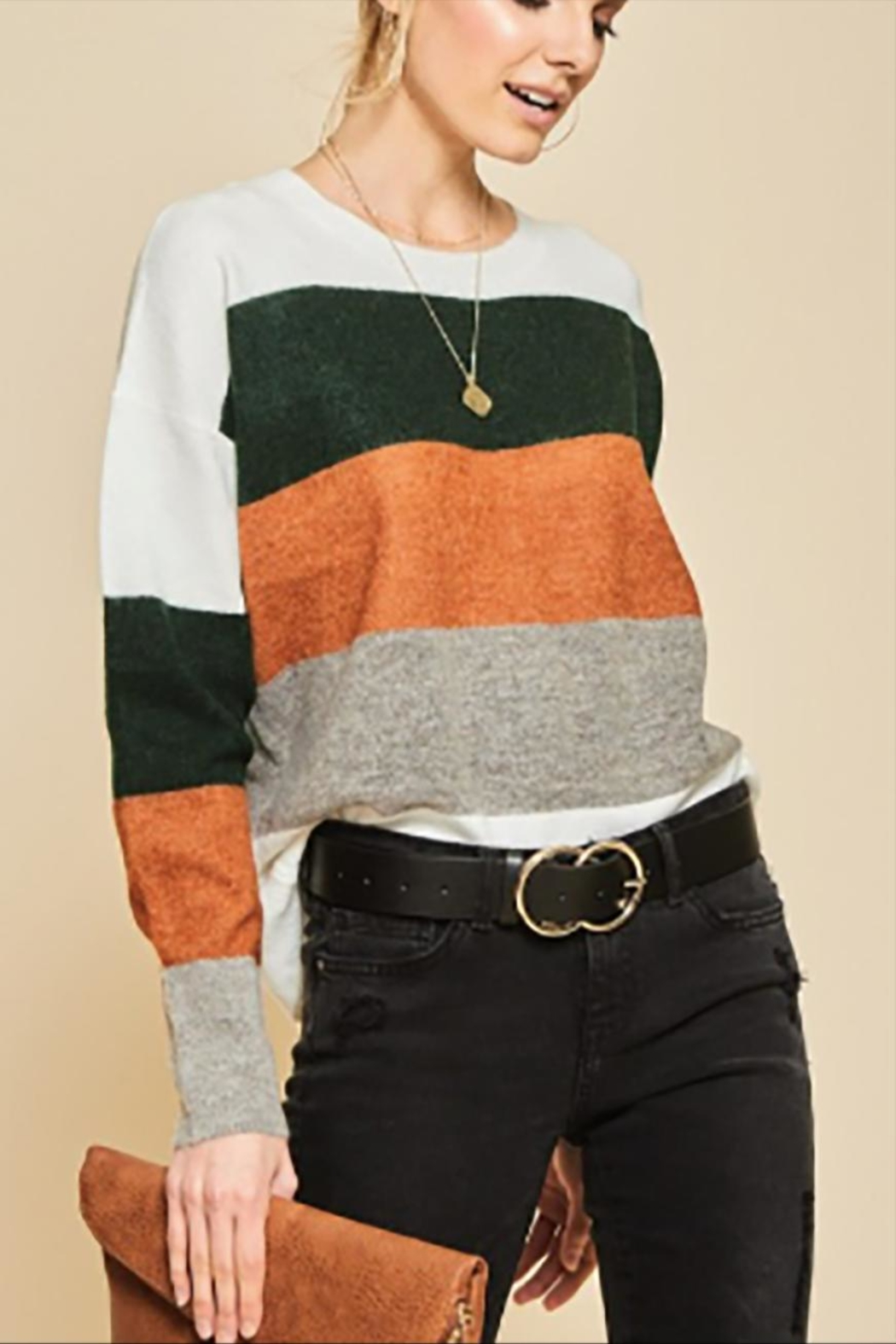 Andree by Unit Plus Colorblock Sweater - Front Full Image