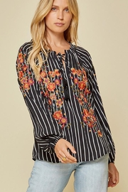 Andree by Unit Stripe Tunic Top Embroidery Detail - Product Mini Image