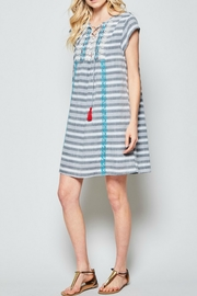 Andree by Unit Striped Embroidered Dress - Product Mini Image