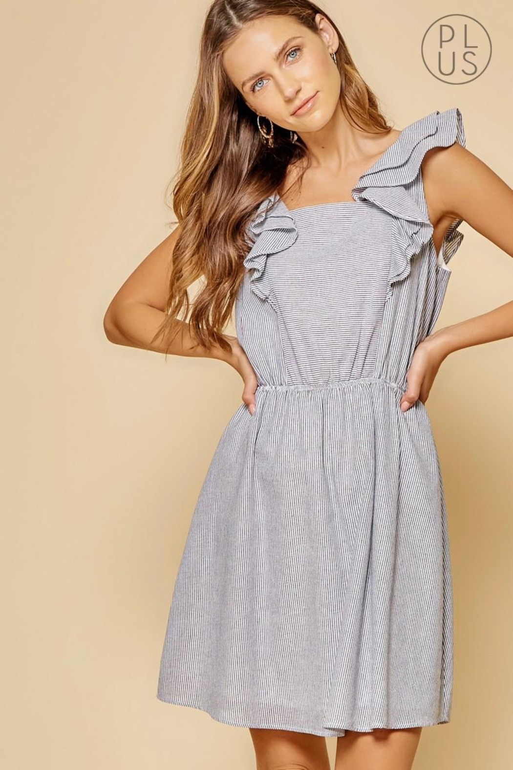 Andree by Unit Striped Ruffle-Shoulder Dress - Main Image