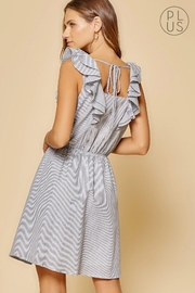 Andree by Unit Striped Ruffle-Shoulder Dress - Front full body