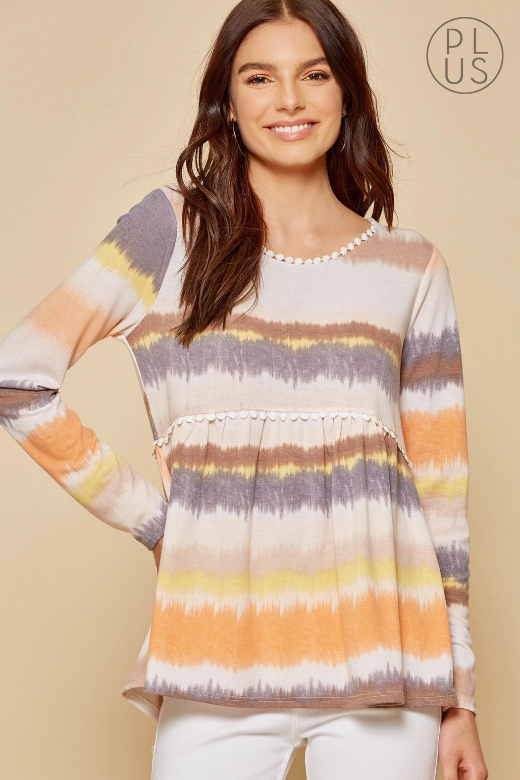 Andree by Unit Tie-Dye Baby-Doll Top - Front Full Image