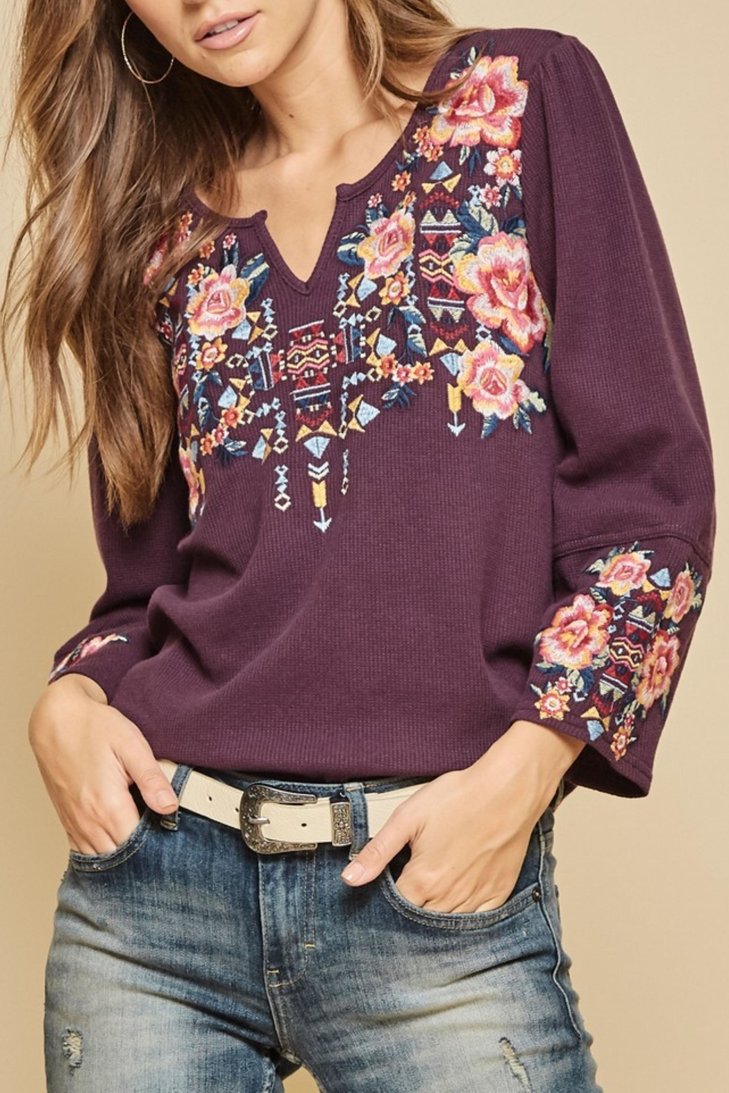 Andree by Unit Waffle Knit Embroidered Top - Main Image