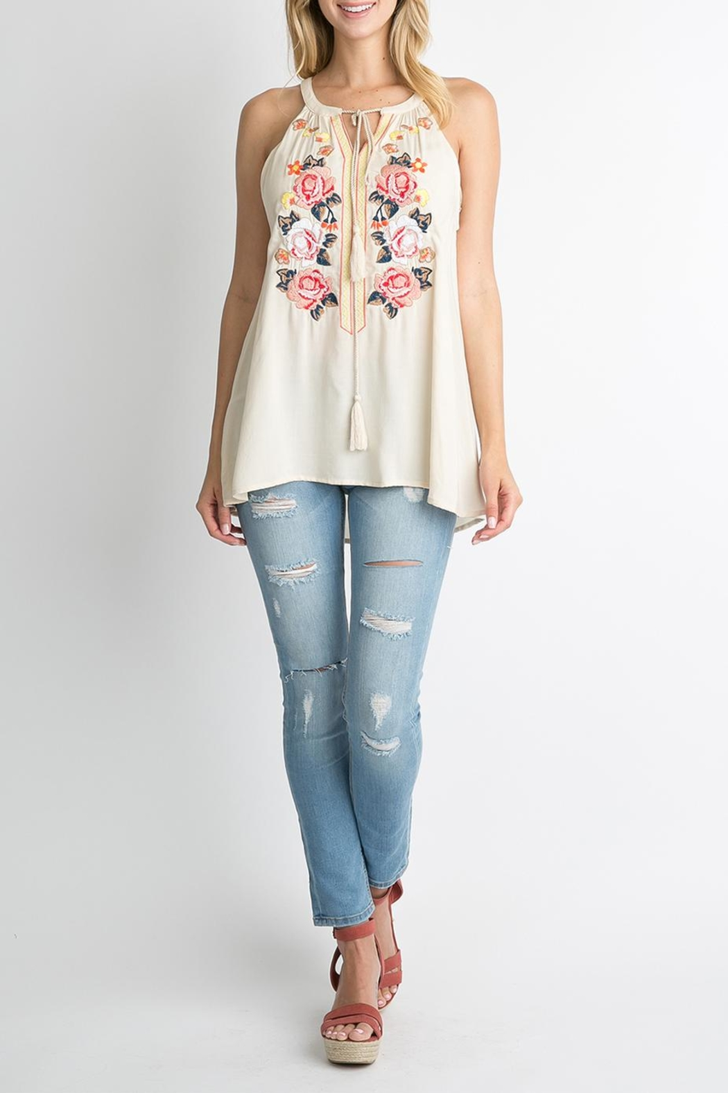 Andree by Unit White Floral Top - Front Cropped Image
