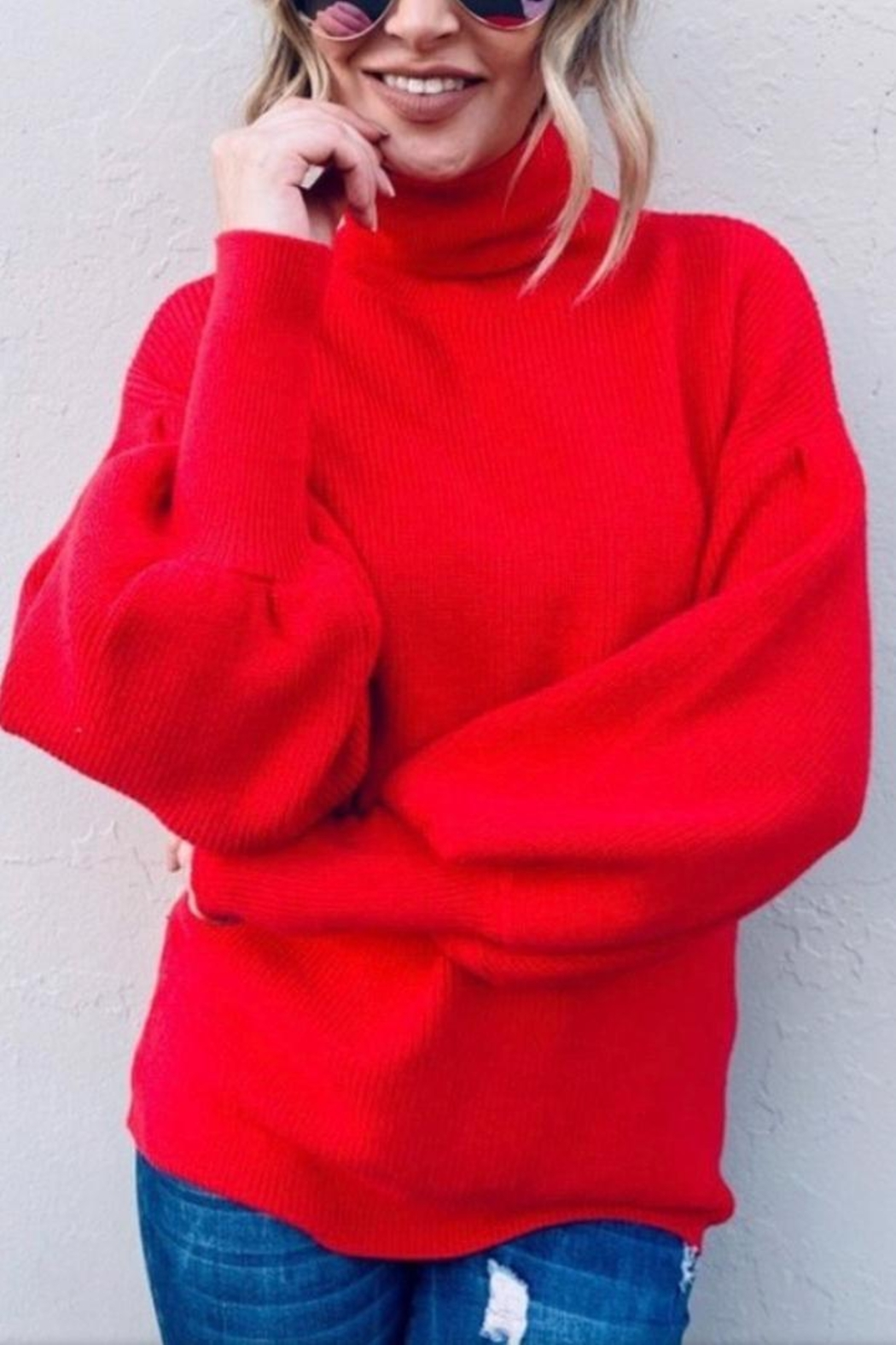 andthewhy Red Turtleneck Sweater - Front Full Image